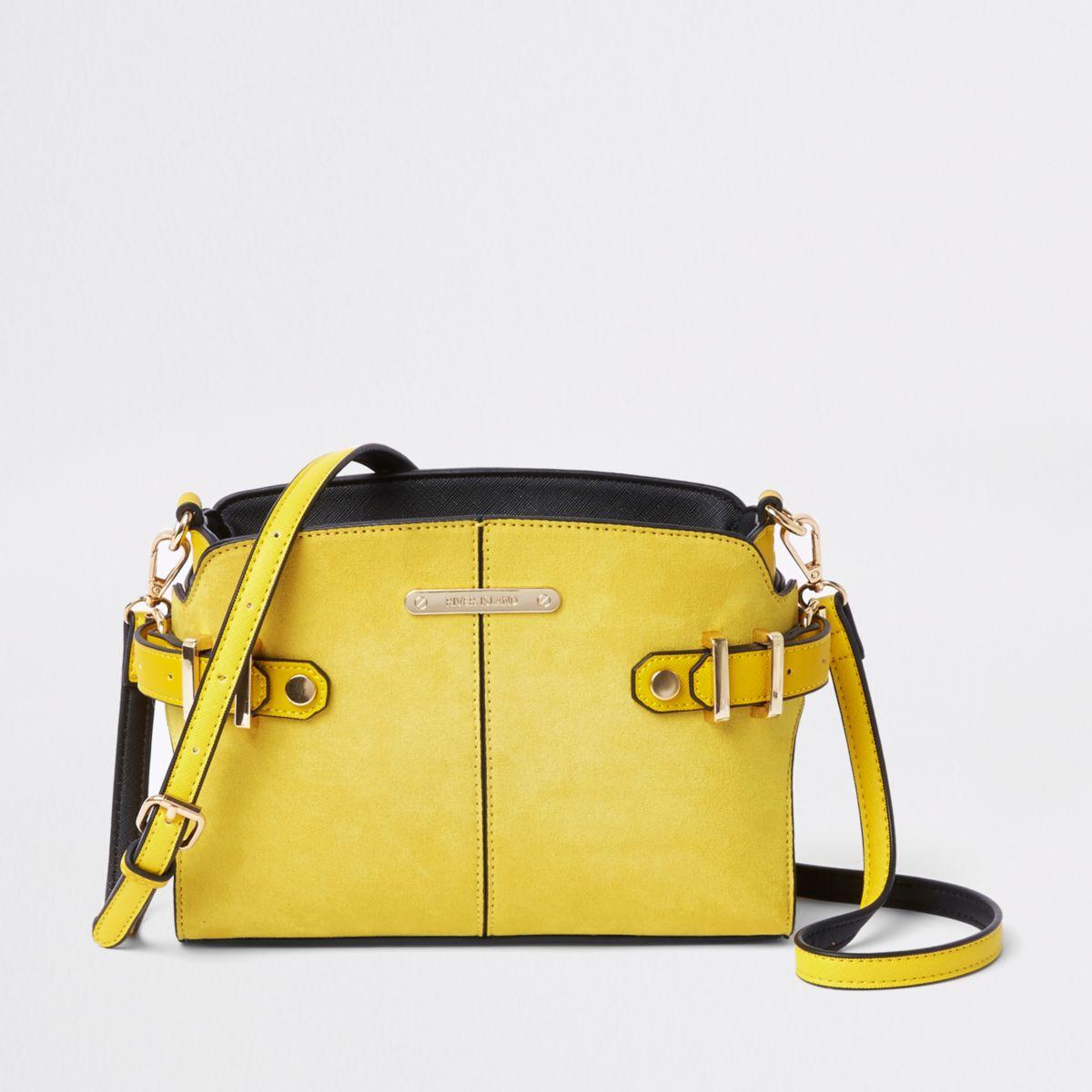 Yellow tab side cross body bag