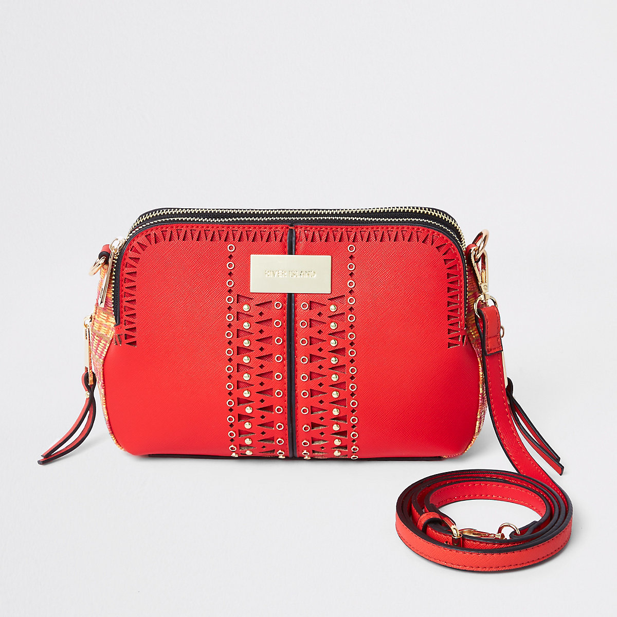 Orange laser cut cross body bag