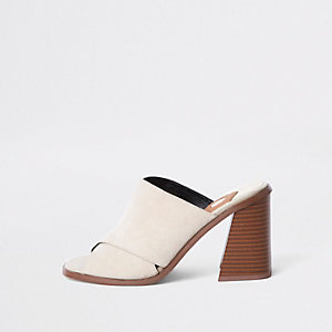 Beige cross strap block heel mule sandals