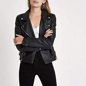 Black faux leather biker style jacket
