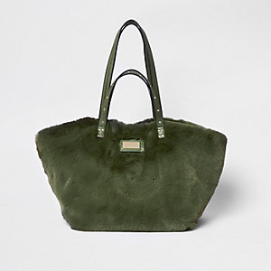 Khaki green faux fur oversized shopper bag