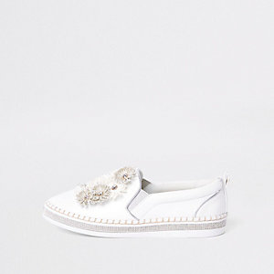 White floral slip on chunky plimsolls