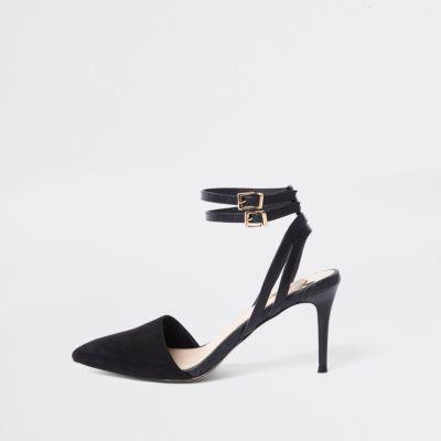 e46619ebf84 Black double buckle mid heel court shoes - Shoes - Shoes   Boots - women
