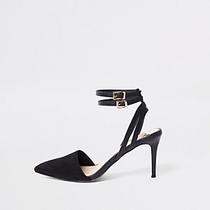 Black double buckle mid heel court shoes