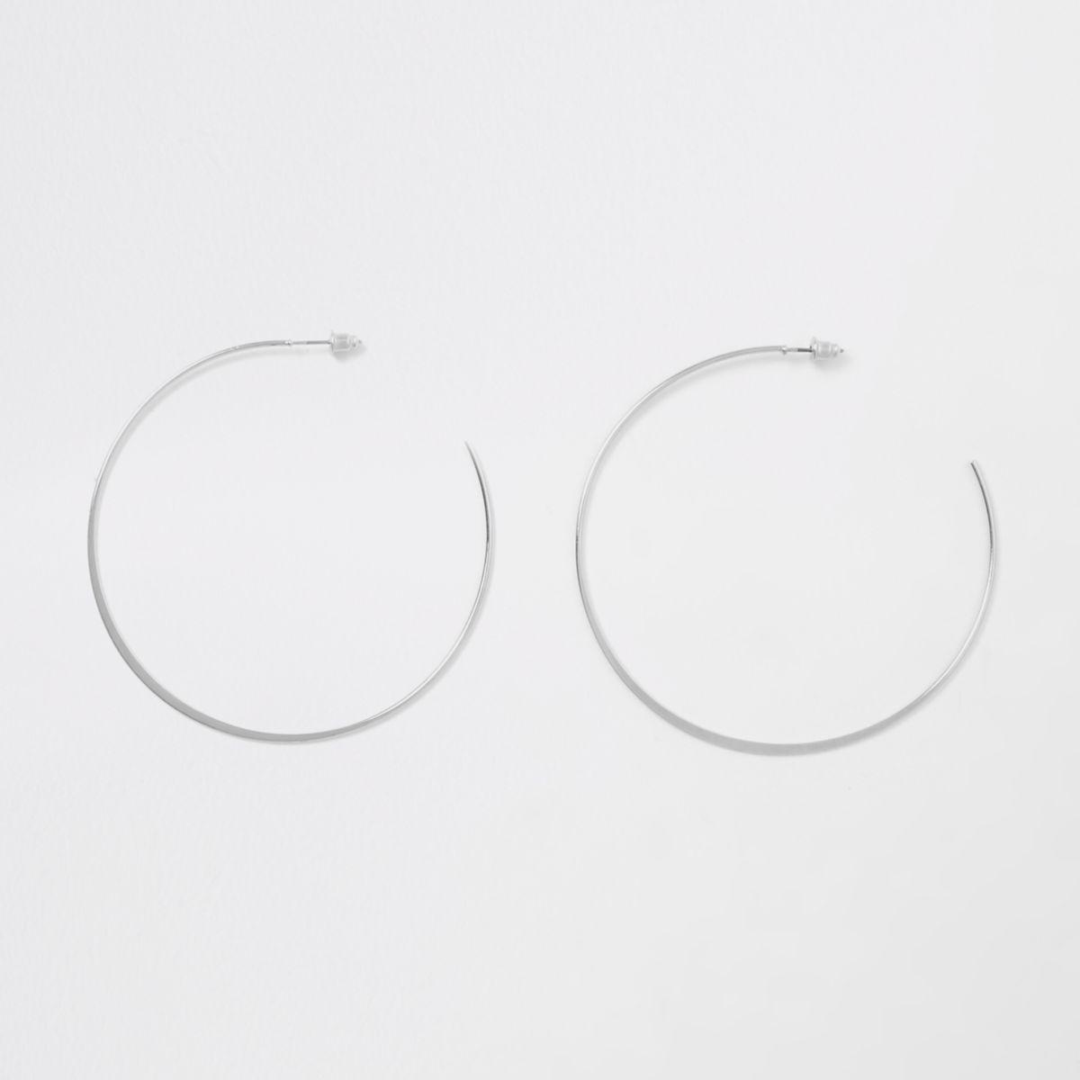 Silver tone thin flat bottom hoop earrings