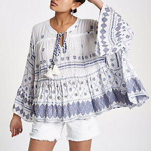 Blue jewel embellished smock top
