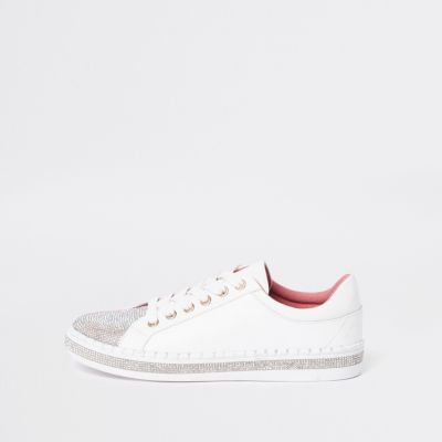 White Heat Seal Lace Up  Trainer by River Island