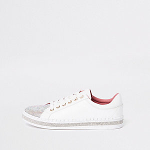 Witte heat-seal vetersneakers