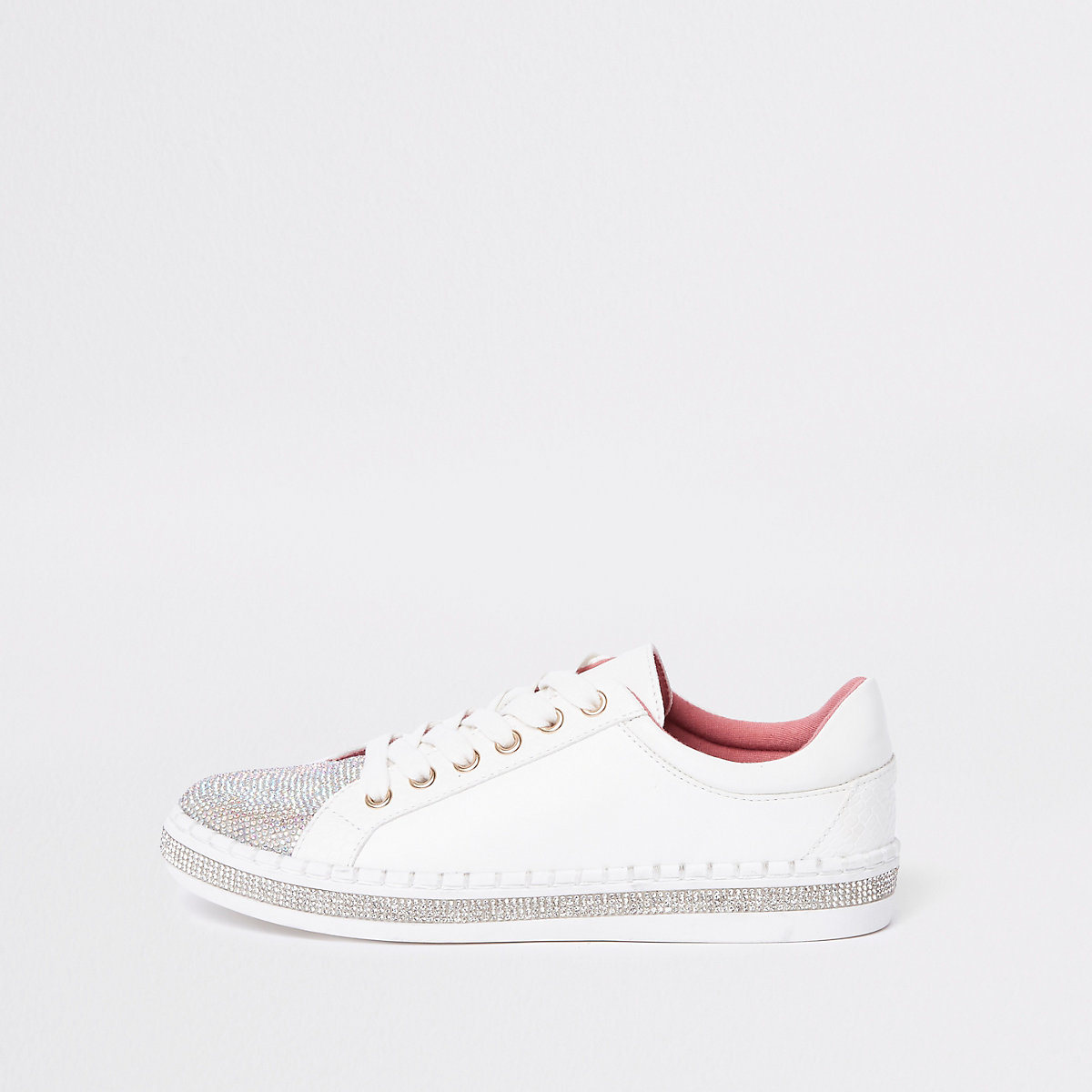 White heat seal lace-up  trainer