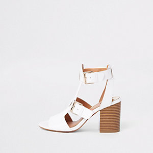 White wide fit double buckle shoe boots