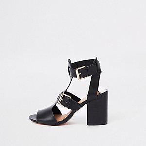 Zwarte schoenlaarsjes met brede pasvorm en dubbele gesp