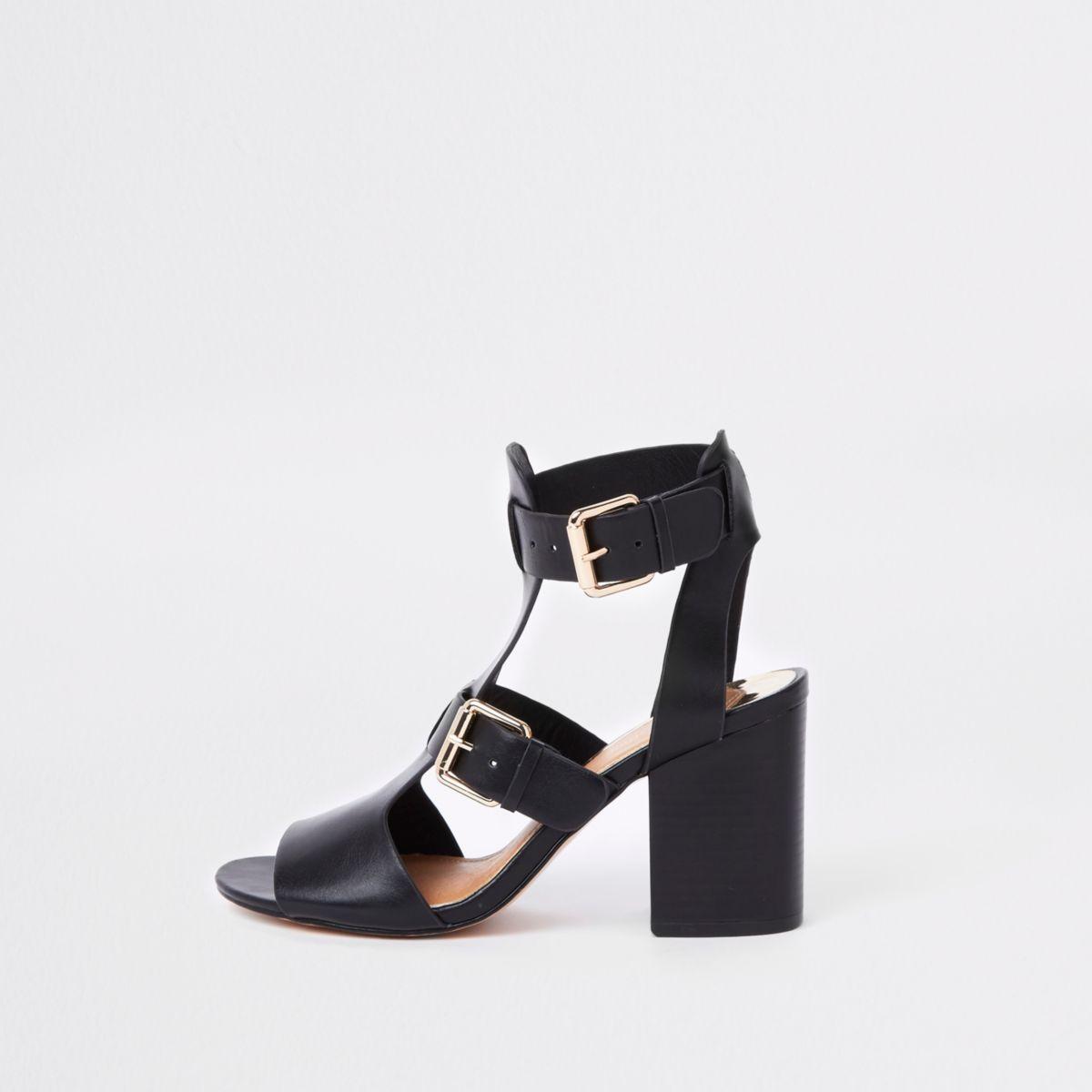 Black wide fit double buckle shoe boots