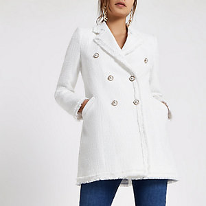 White boucle trophy jacket
