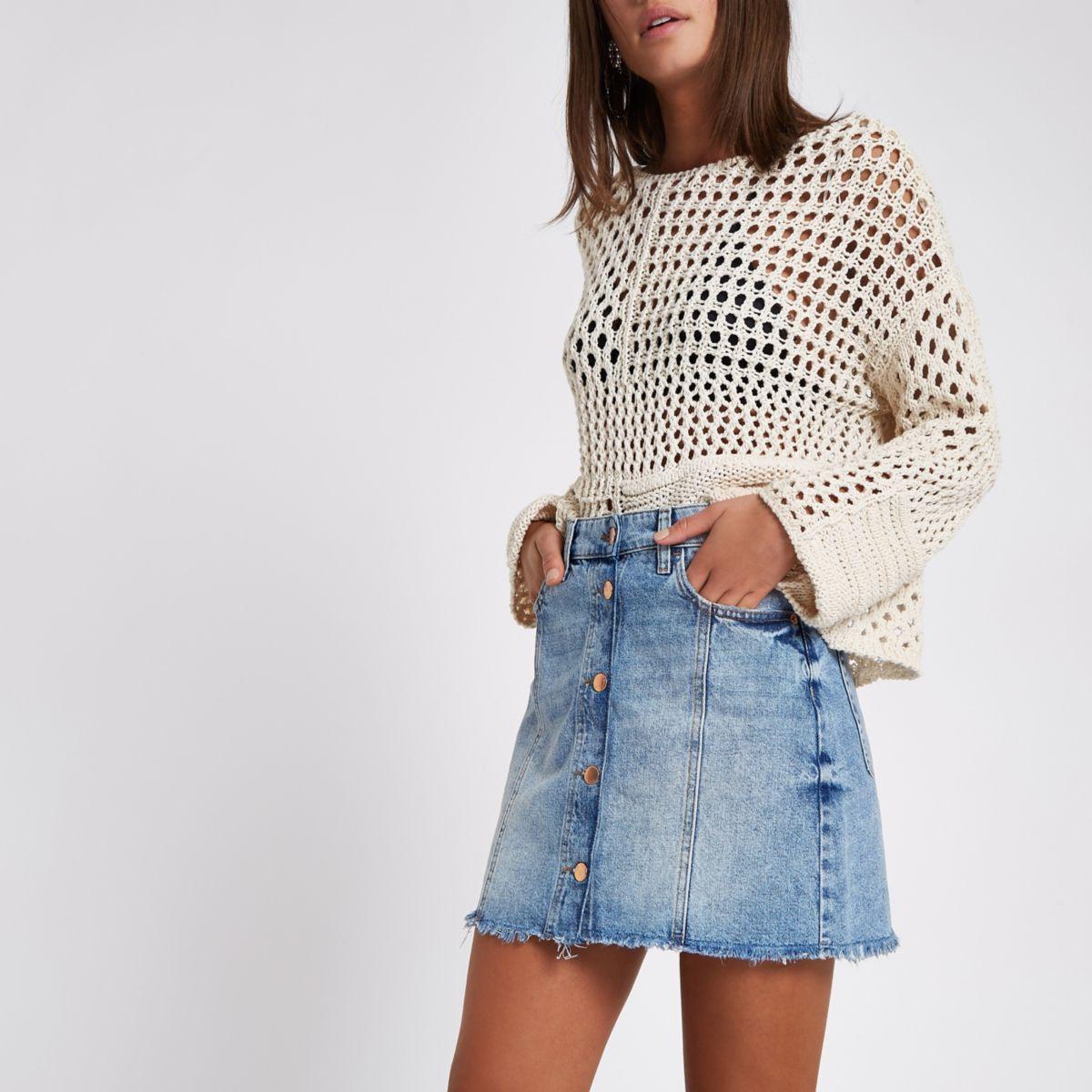 Blue denim A line button down mini skirt