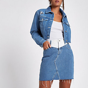 Blue contrast waist mini denim skirt