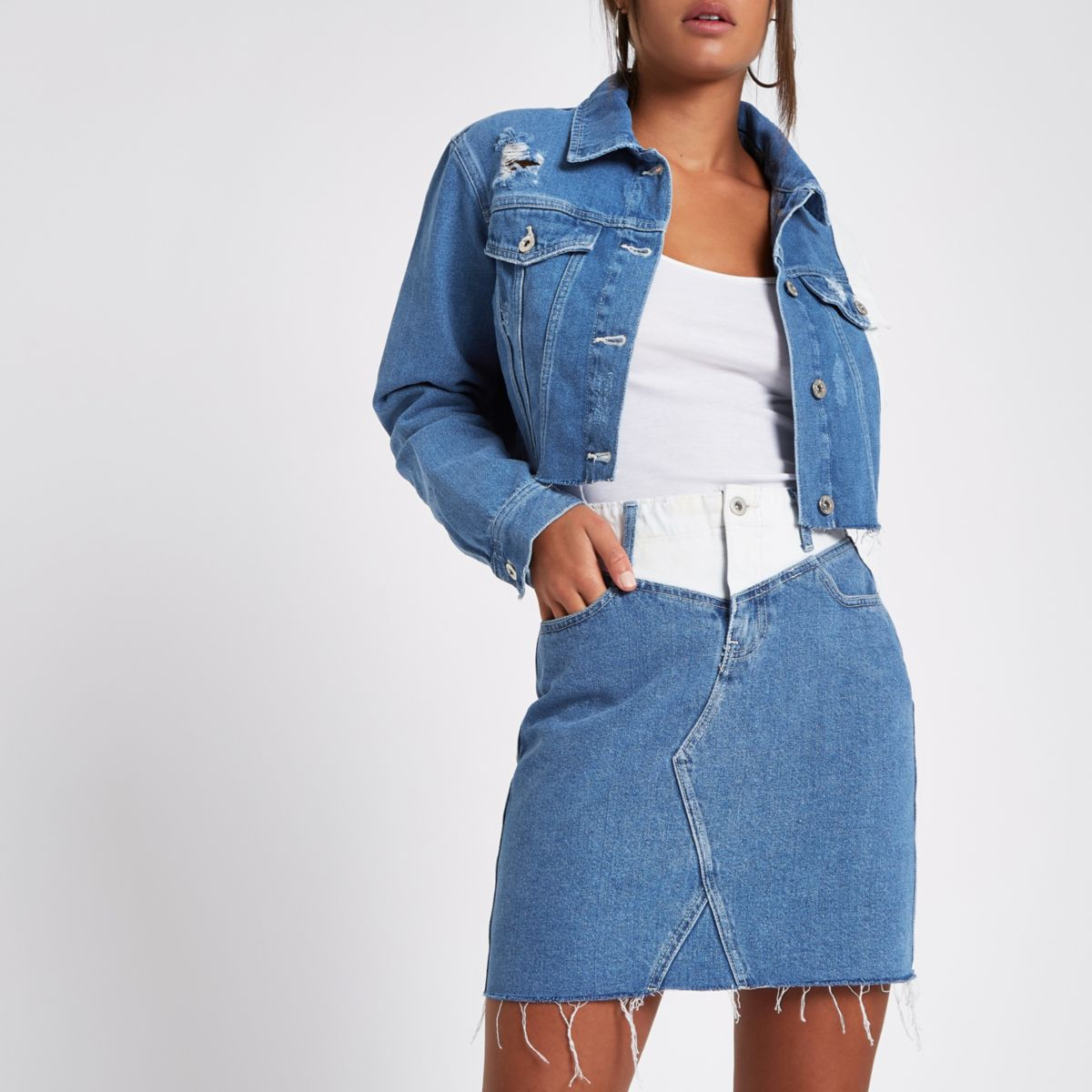 Blue contrast waist mini denim skirt