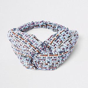 Hellblaues Tweed-Haarband