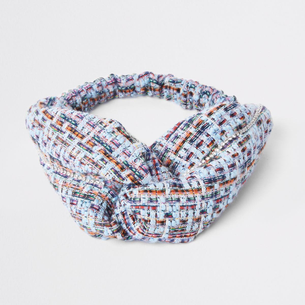 Light blue tweed knot hairband