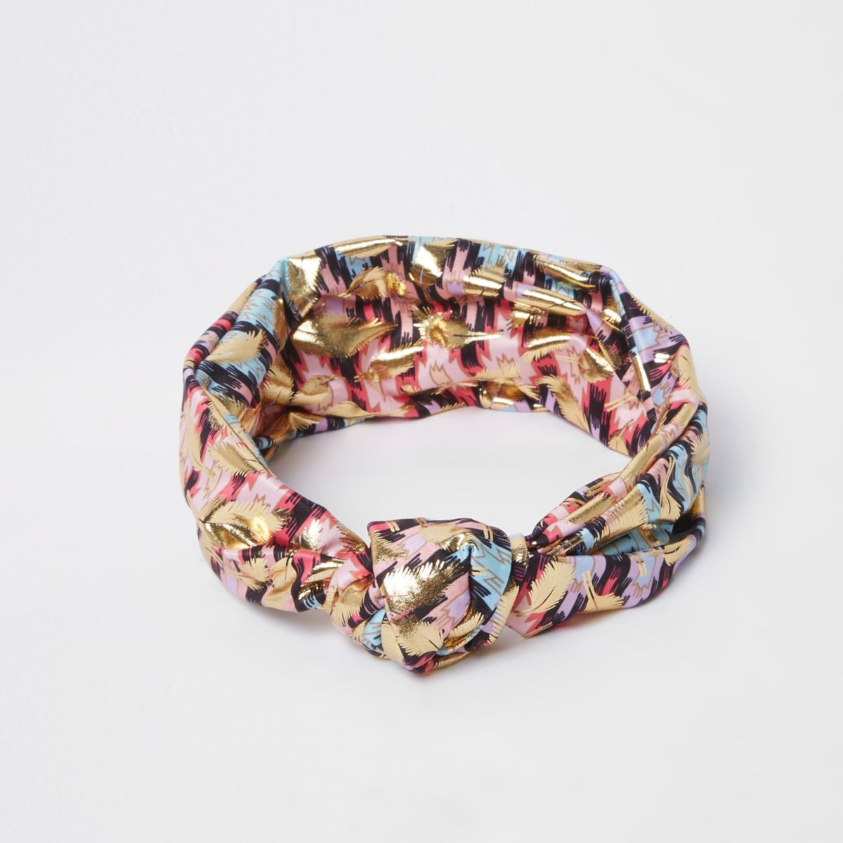 Pink aztec print knot front headband