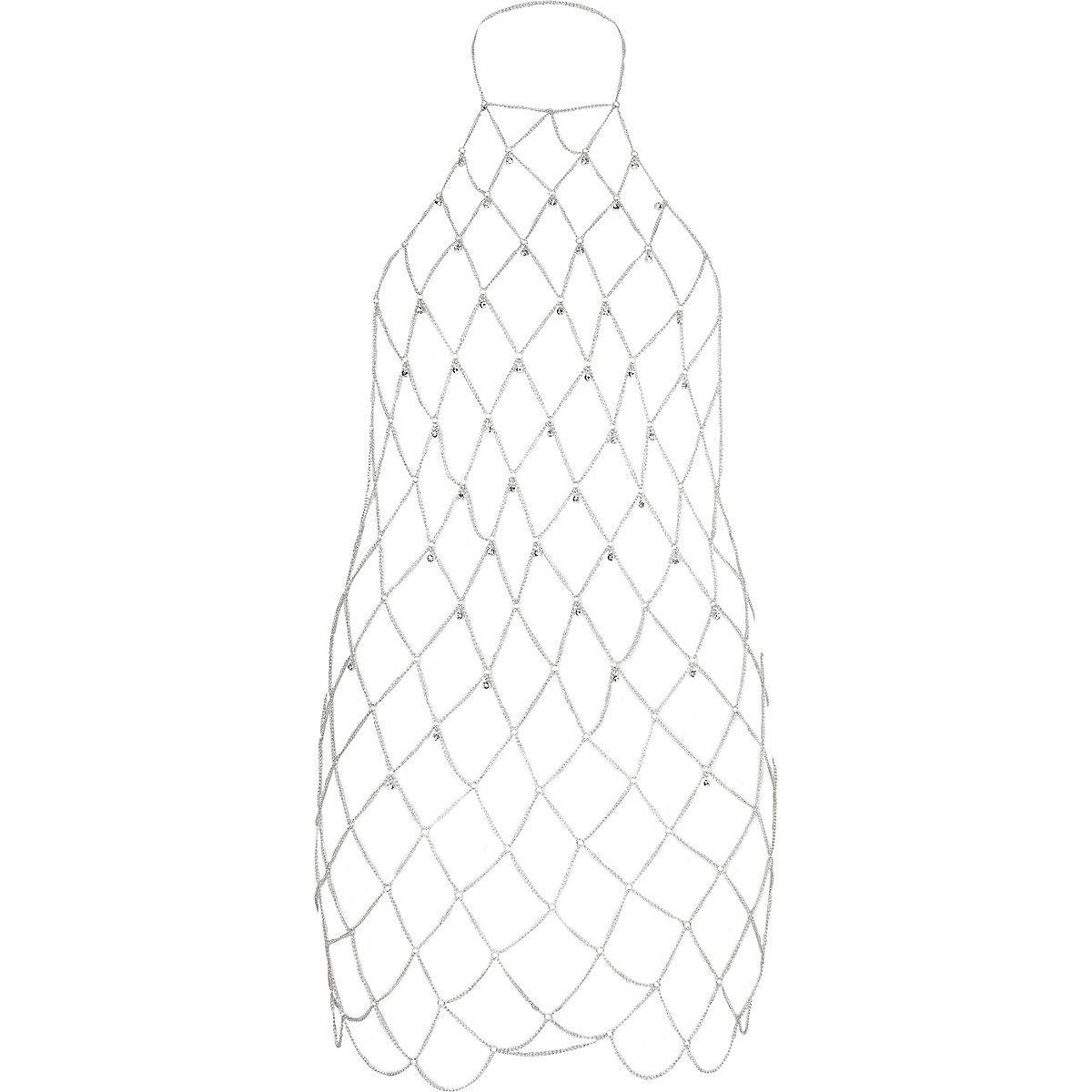 Silver tone diamante harness body chain