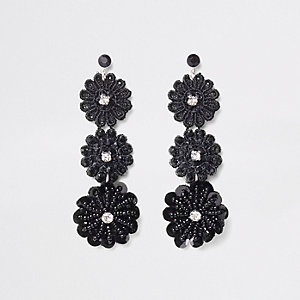 Black floral lace drop stud earrings