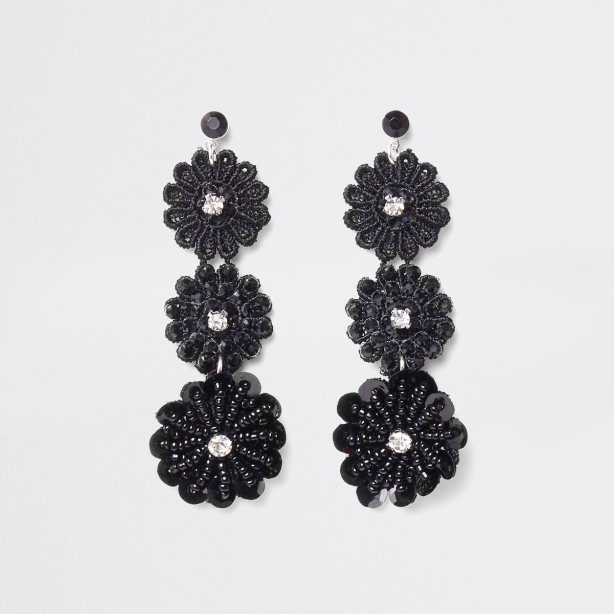 Black floral lace drop stud earrings
