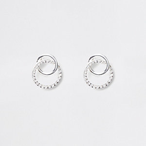 Silver tone diamante interlink circle studs