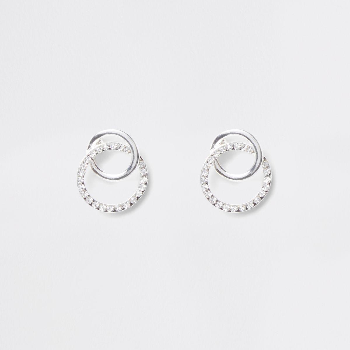 Silver tone rhinestone interlink circle studs