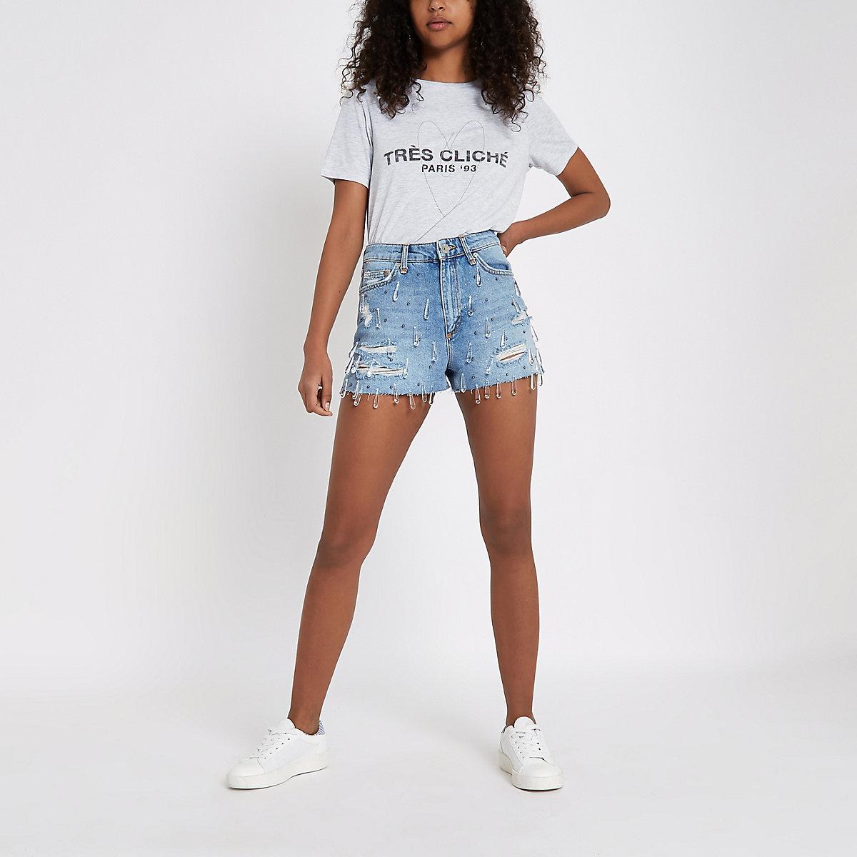 Denim jewel high waist hot pants - Shorts - Sale - women