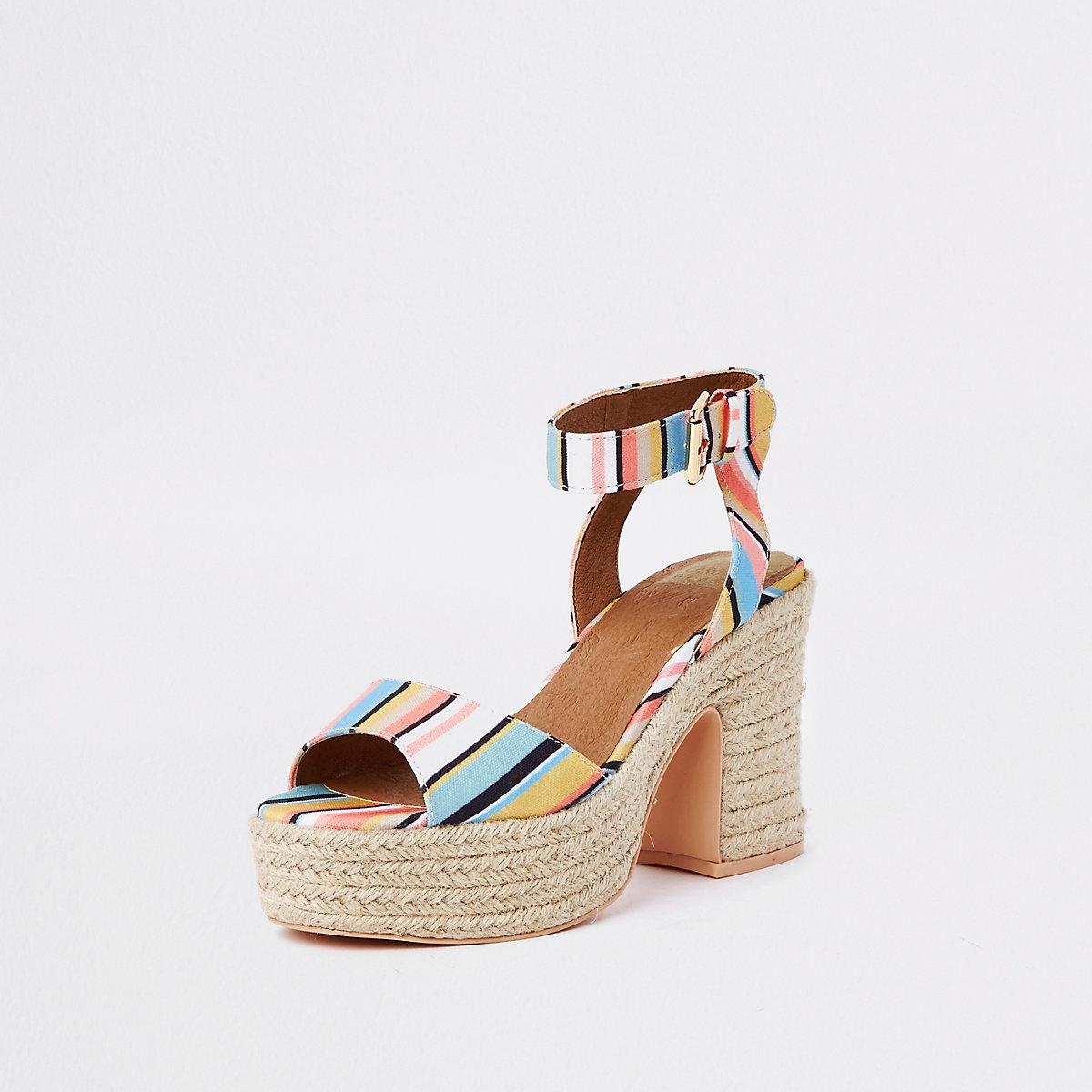 8f92e05828ce White stripe Caroline Flack block heel sandal - Sandals - Shoes ...