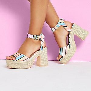 White stripe Caroline Flack block heel sandal