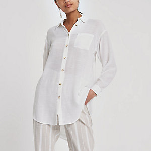 White longline long sleeve shirt