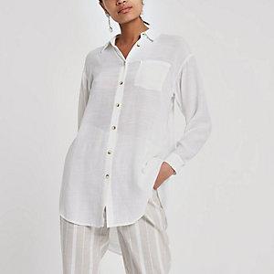Chemise longue blanche à manches longues