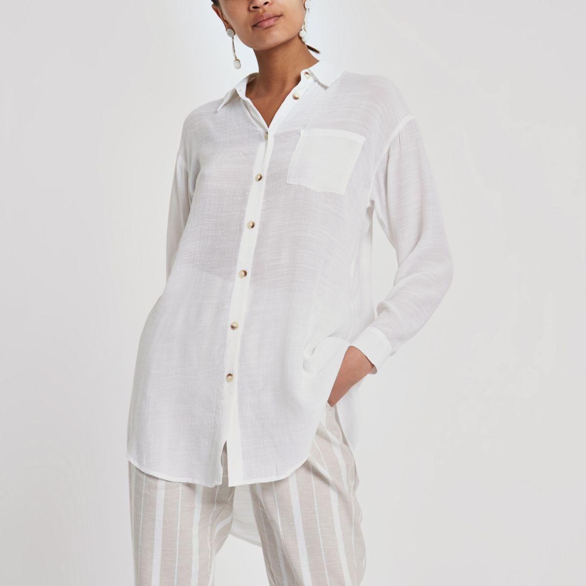 White longline long sleeve shirt