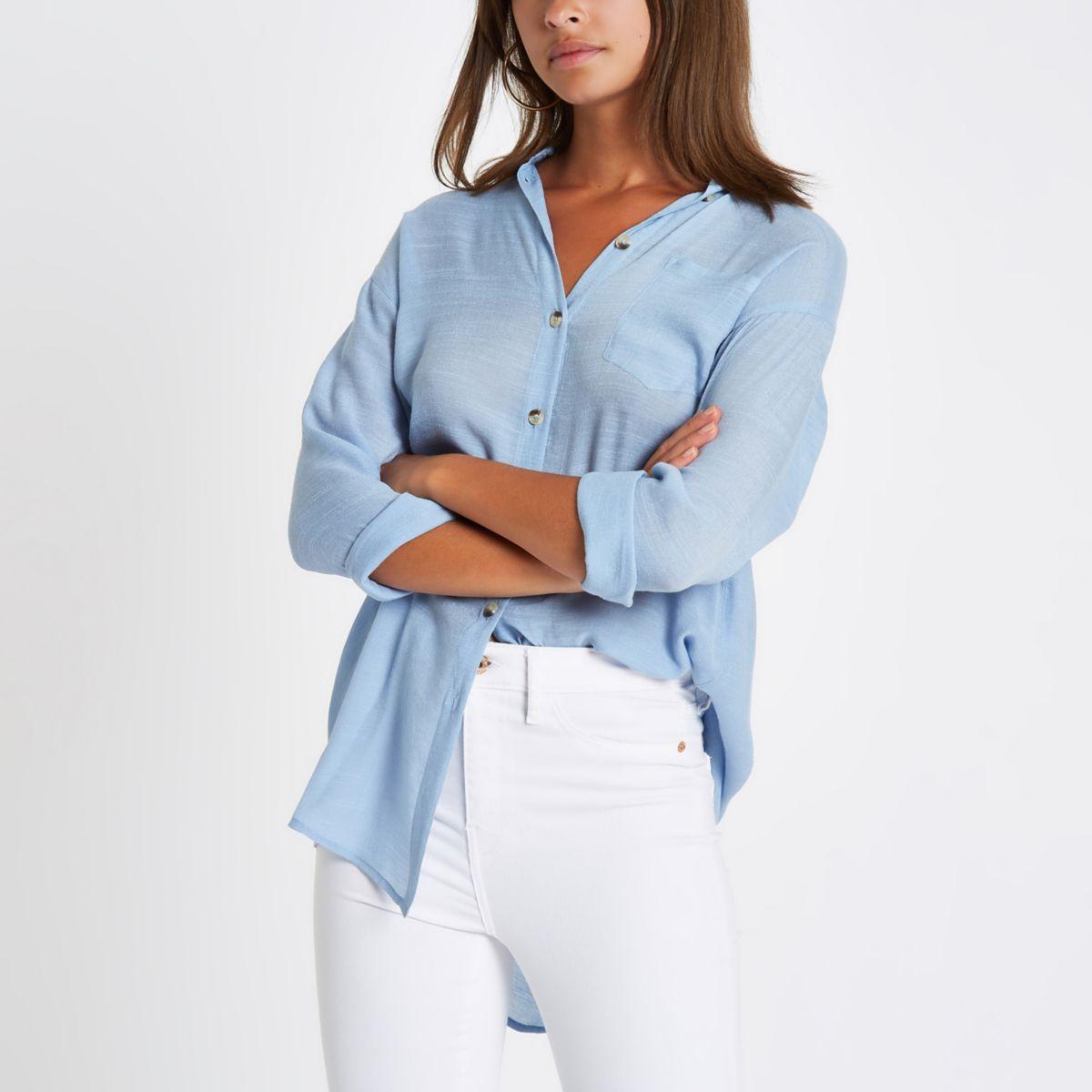 Blue longline long sleeve shirt