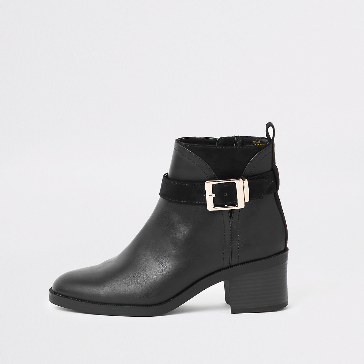 Black buckle detail ankle boots