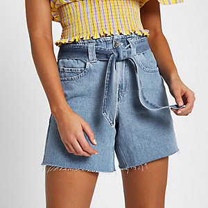 Mid blue tie waist denim shorts