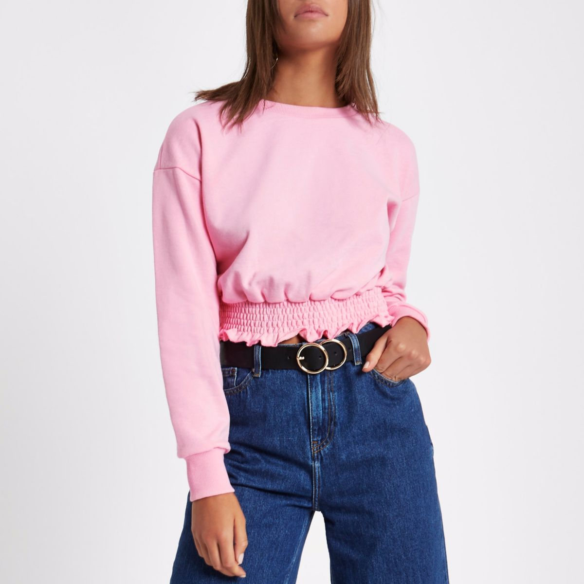 Light pink shirred hem cropped sweatshirt
