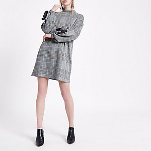 Grey check jersey eyelet tie cuff swing dress