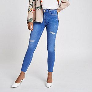 Petite – Amelie – Blaue Super Skinny Jeans im Used-Look