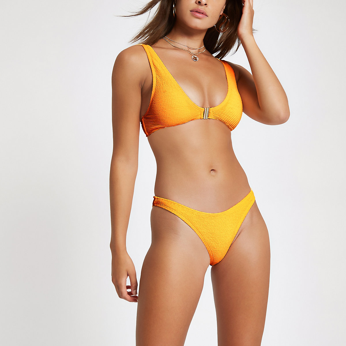 Orange textured high leg bikini bottoms