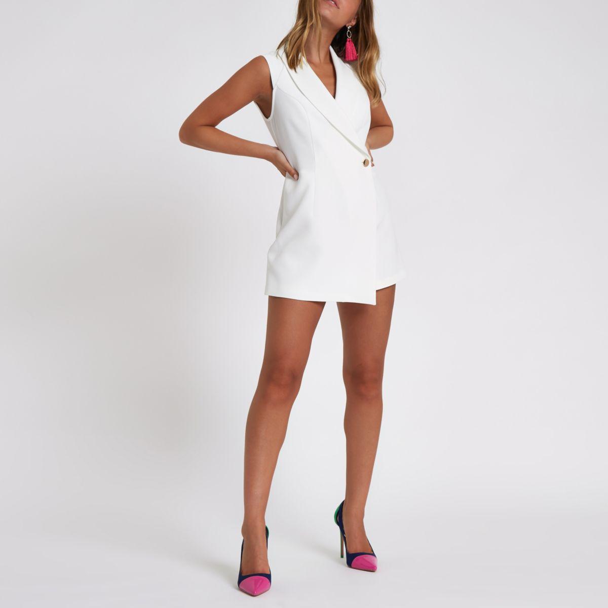 Petite white tux sleeveless wrap romper