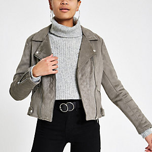 Grey faux suede quilted biker jacket