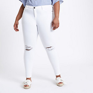 Plus white molly ripped jeans