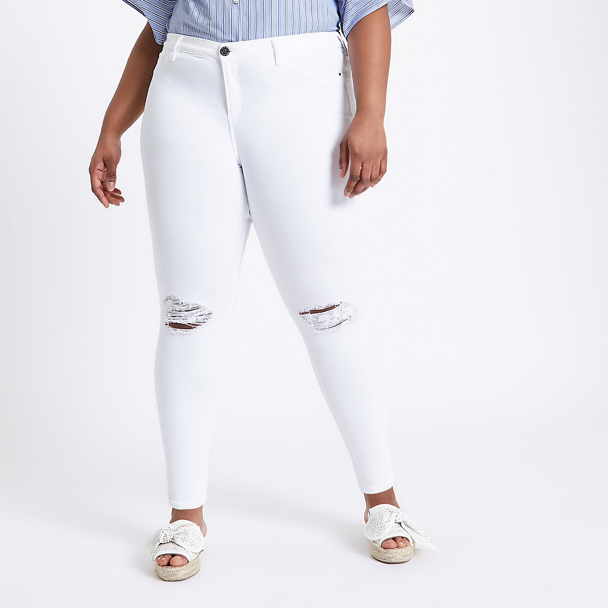 Molly ‒ Weiße Jeans im Used-Look