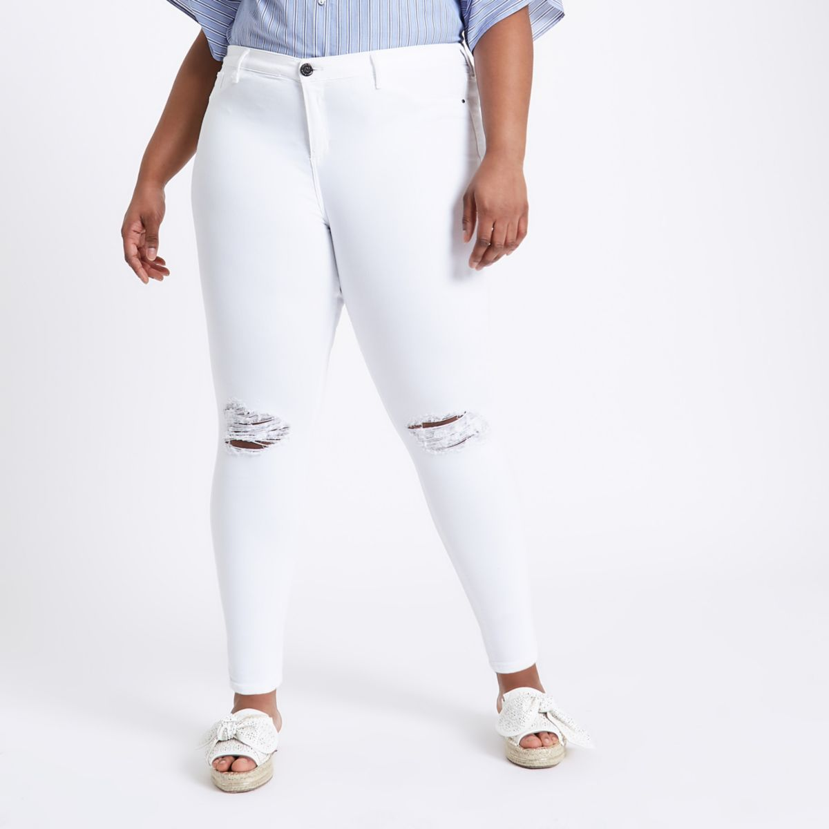 RI Plus - Molly - Witte ripped jeans