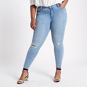 Plus – Harper – Blaue Skinny Jeans im Used-Look