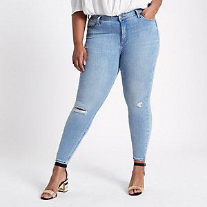 RI Plus - Harper - Blauwe skinny ripped jeans