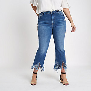 Plus mid blue fringed hem cropped flare jeans