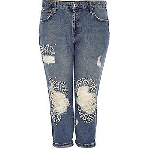 RI Plus - Blauwe verfraaide ripped boyfriend jeans
